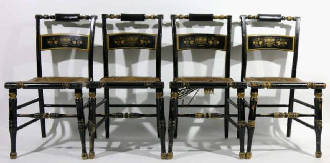AMERCIAN ANTIQUE RUSH SEAT HIITCHCOCK CHAIR SET - 2