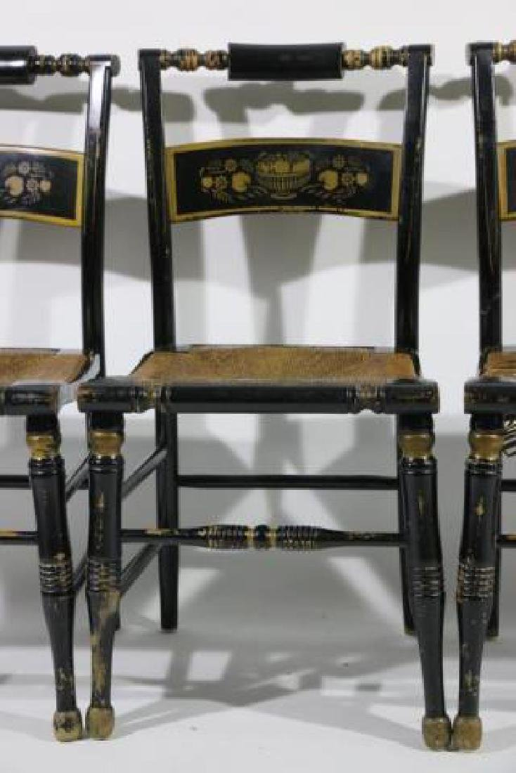 AMERCIAN ANTIQUE RUSH SEAT HIITCHCOCK CHAIR SET - 4