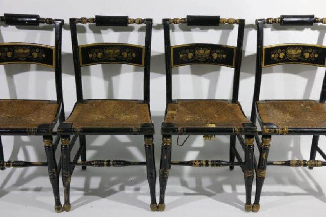 AMERCIAN ANTIQUE RUSH SEAT HIITCHCOCK CHAIR SET - 5