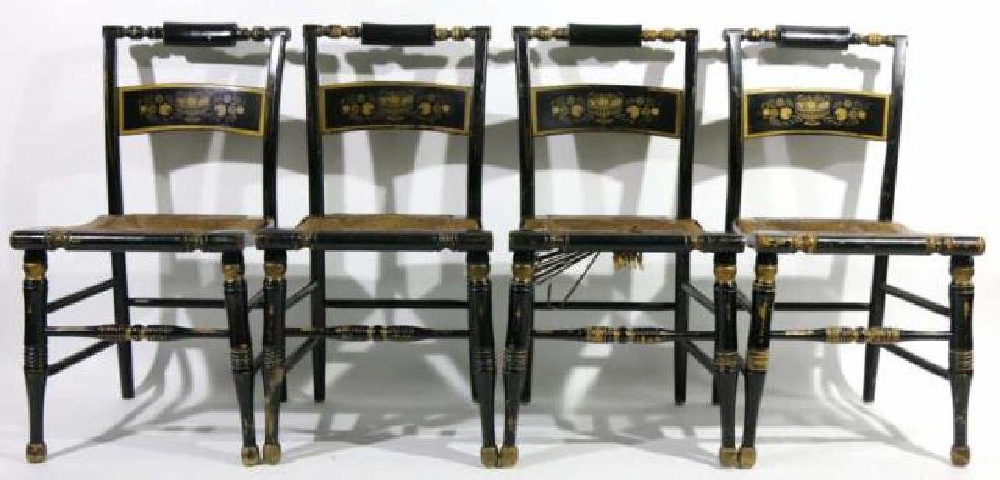 AMERCIAN ANTIQUE RUSH SEAT HIITCHCOCK CHAIR SET - 6