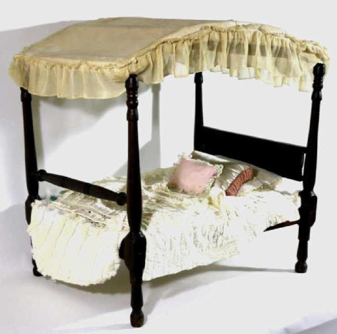 SOUTHERN ANTIQUE CHILDS DOLL CANOPY POSTER BED