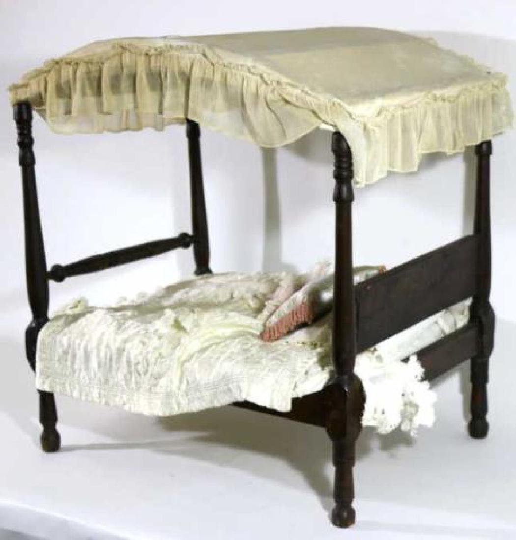 SOUTHERN ANTIQUE CHILDS DOLL CANOPY POSTER BED - 2