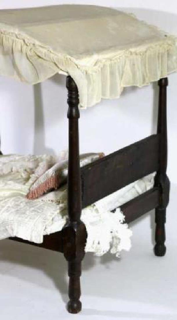 SOUTHERN ANTIQUE CHILDS DOLL CANOPY POSTER BED - 3