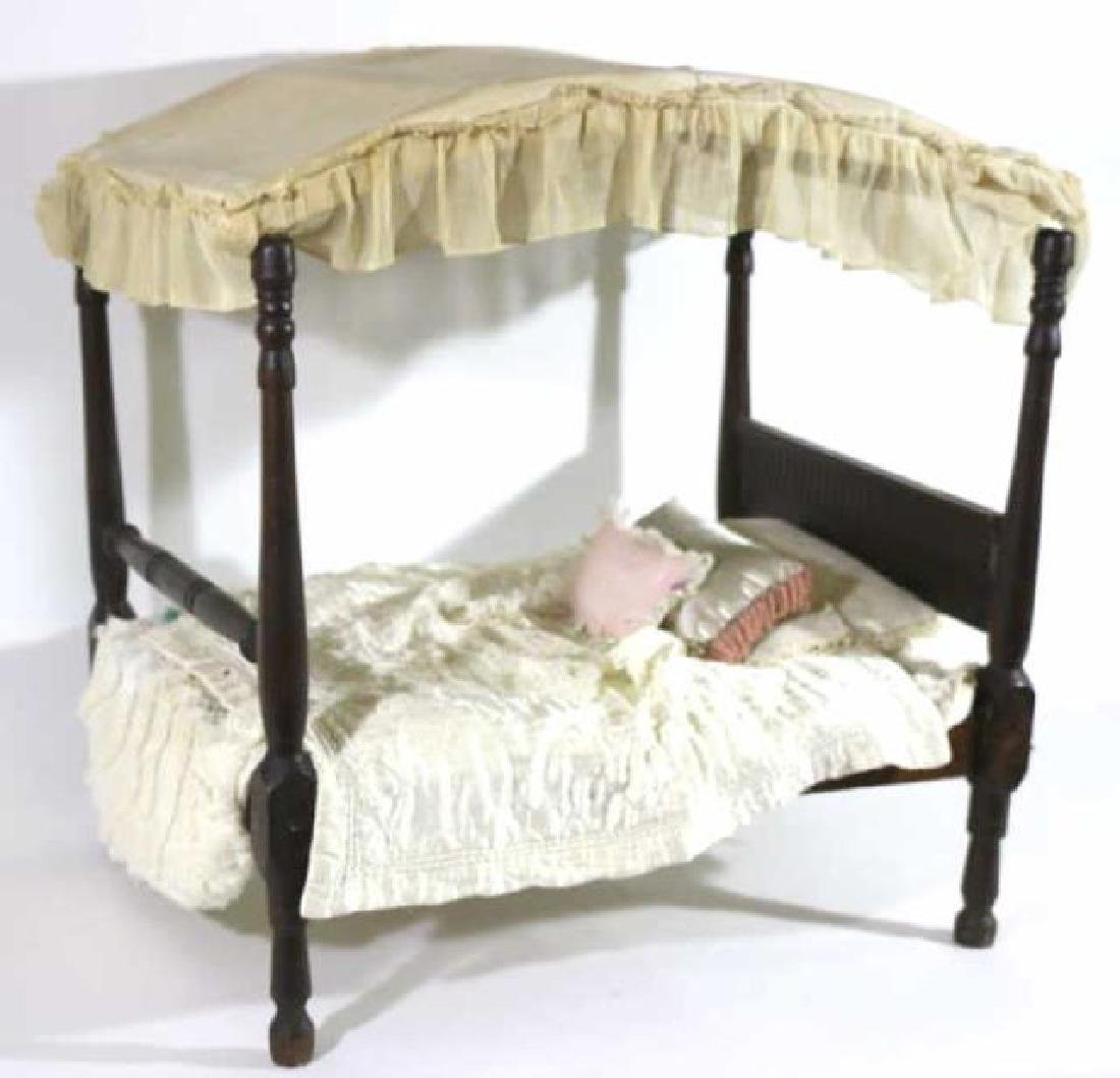 SOUTHERN ANTIQUE CHILDS DOLL CANOPY POSTER BED - 4