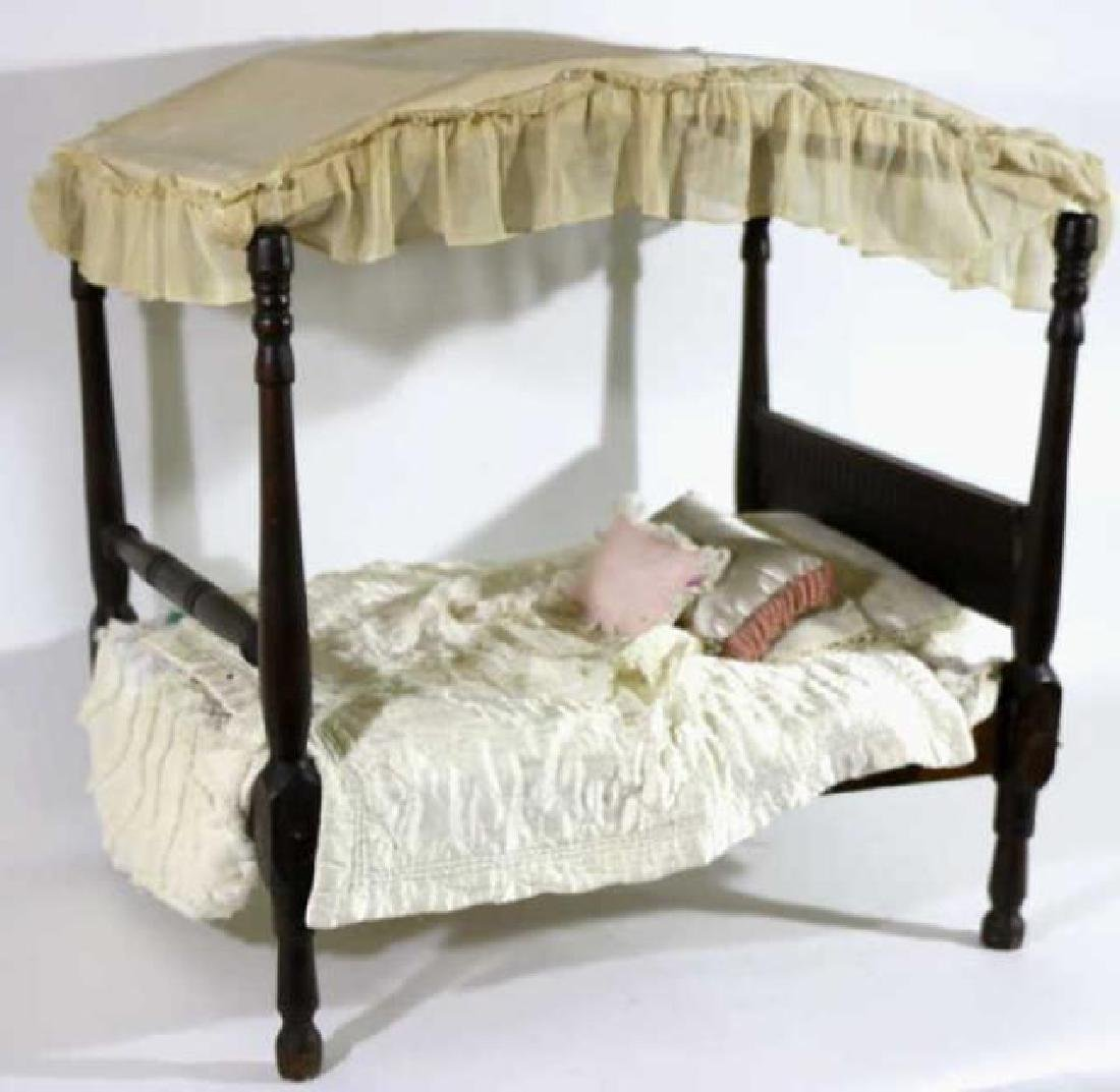 SOUTHERN ANTIQUE CHILDS DOLL CANOPY POSTER BED - 5