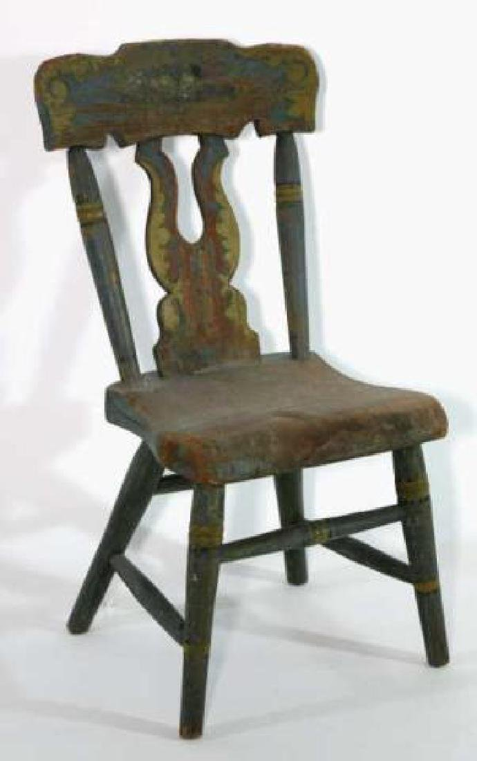 AMERICAN ANTIQUE HAND PAINTED CHILDS CHAIR