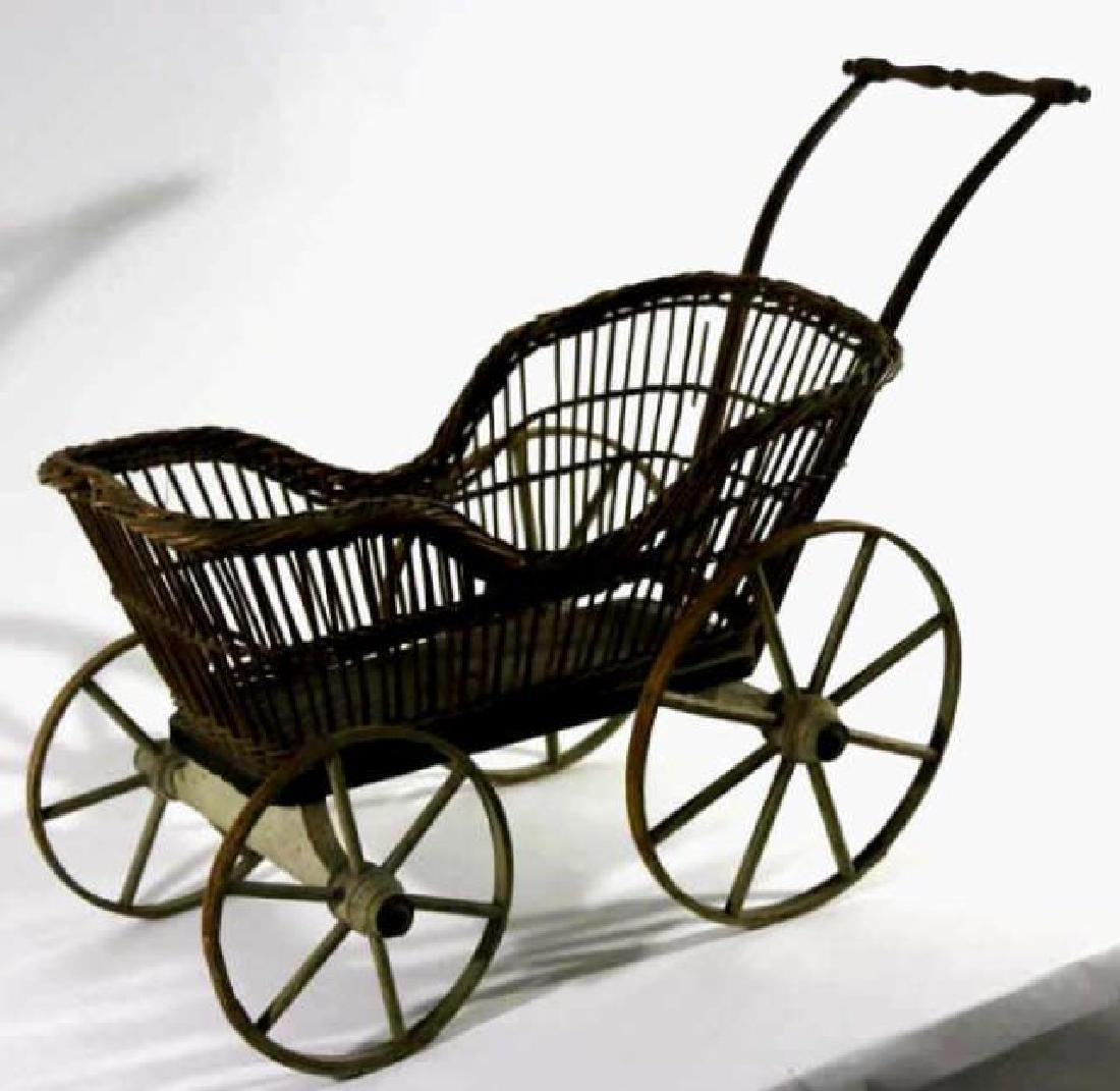 AMERICAN ANTIQUE WICKER CHILDS PRAM / BABY BUGGY - 3