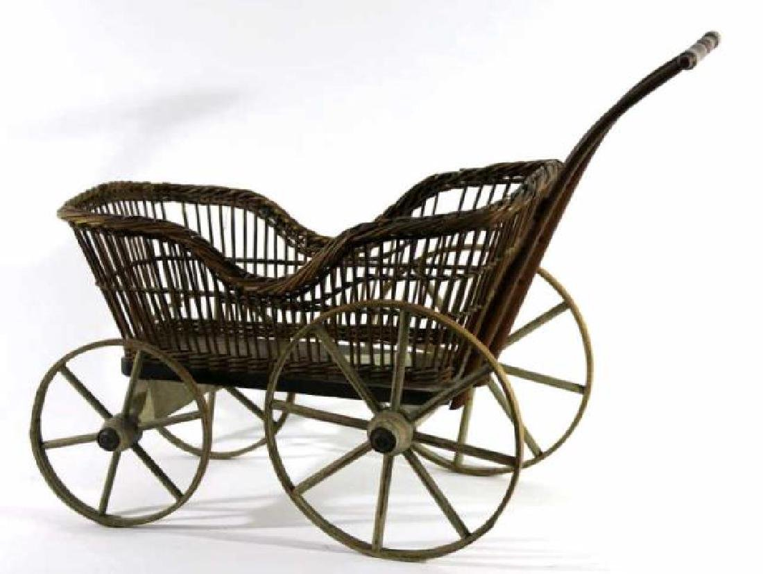 AMERICAN ANTIQUE WICKER CHILDS PRAM / BABY BUGGY - 4