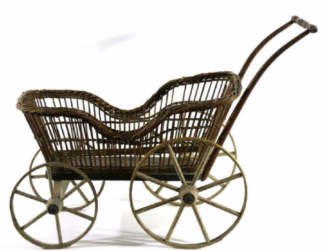 AMERICAN ANTIQUE WICKER CHILDS PRAM / BABY BUGGY - 5