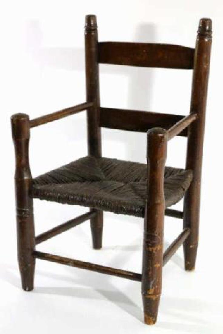 AMERICAN ANTIQUE CHILDS RUSH SEAT ARMCHAIR