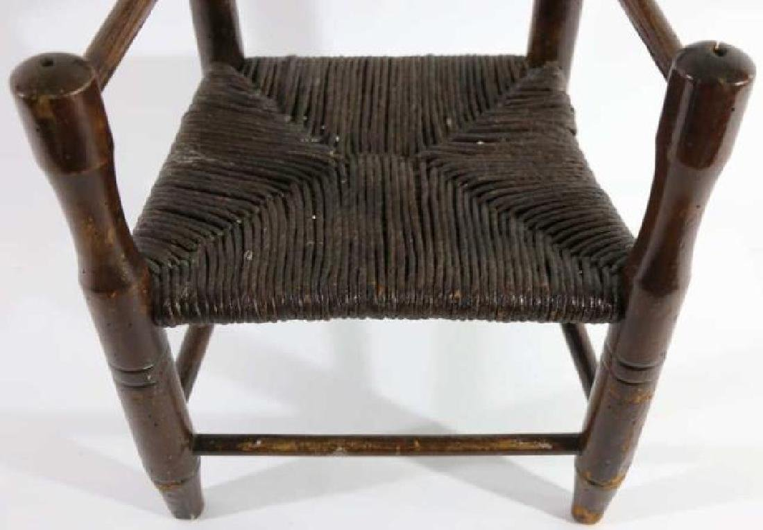 AMERICAN ANTIQUE CHILDS RUSH SEAT ARMCHAIR - 2