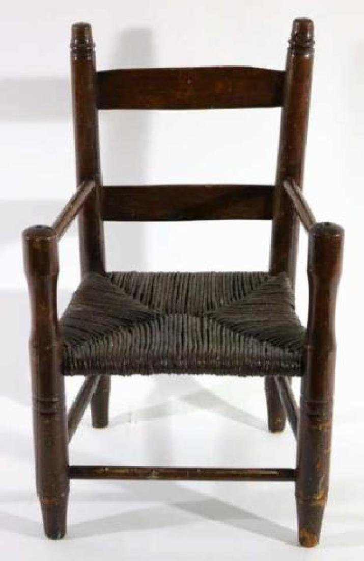 AMERICAN ANTIQUE CHILDS RUSH SEAT ARMCHAIR - 3