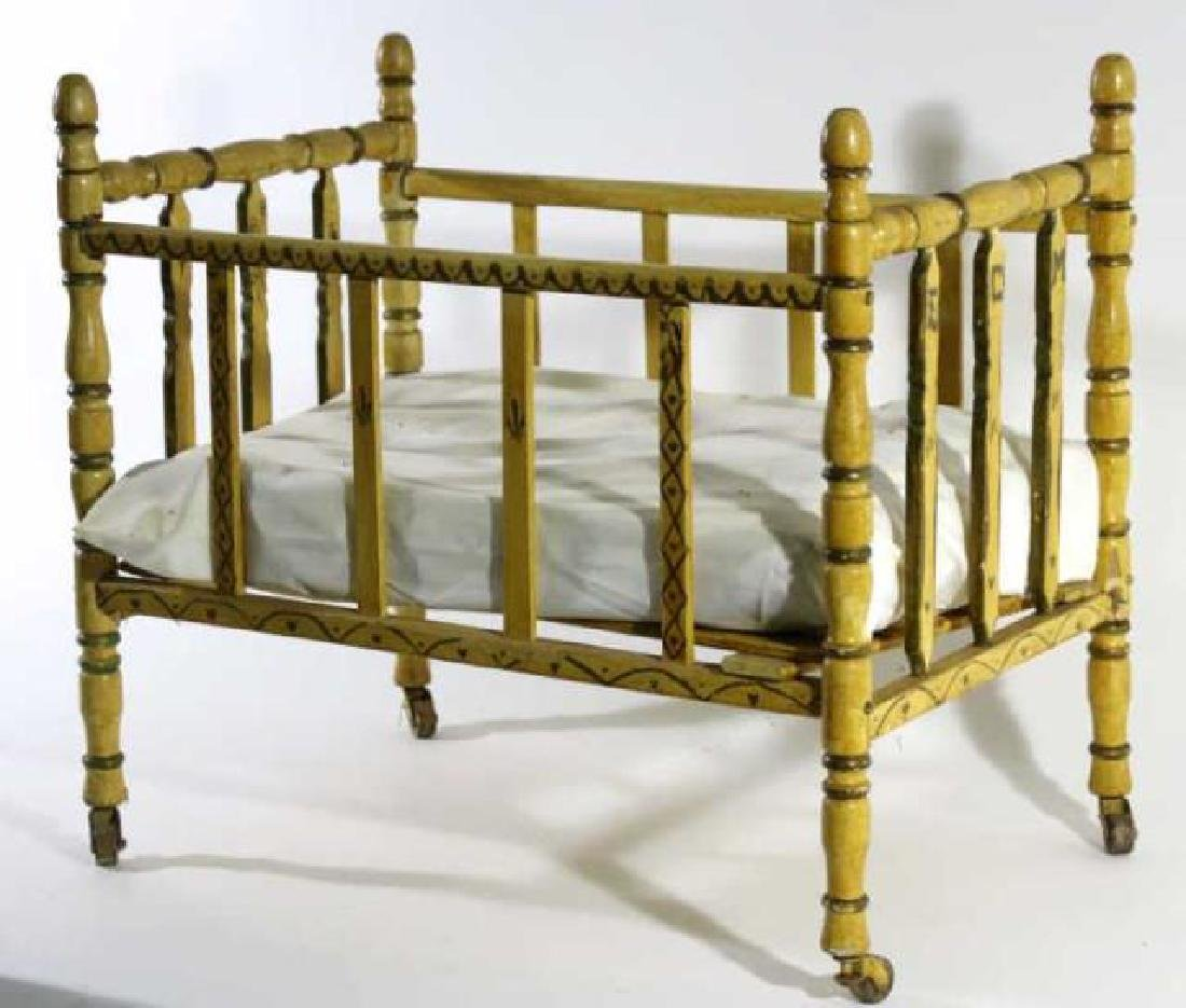 ENGLISH ANTIQUE FAUX BAMBOO DOLL CRIB