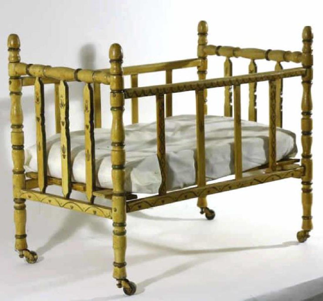 ENGLISH ANTIQUE FAUX BAMBOO DOLL CRIB - 2