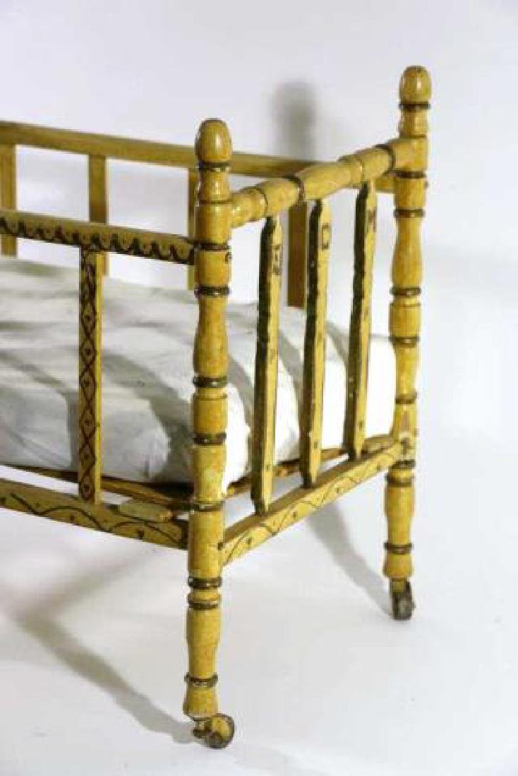 ENGLISH ANTIQUE FAUX BAMBOO DOLL CRIB - 3