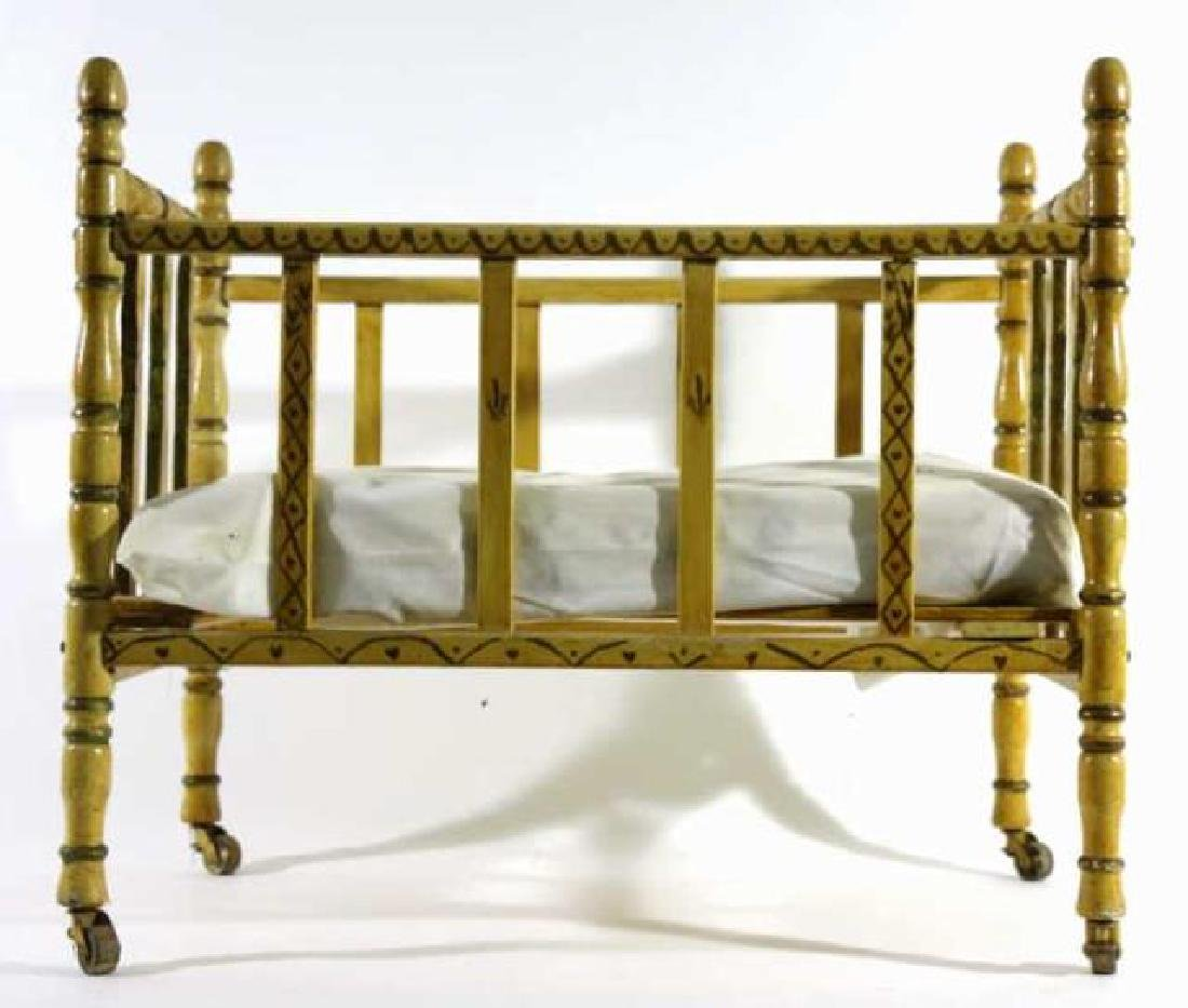 ENGLISH ANTIQUE FAUX BAMBOO DOLL CRIB - 4