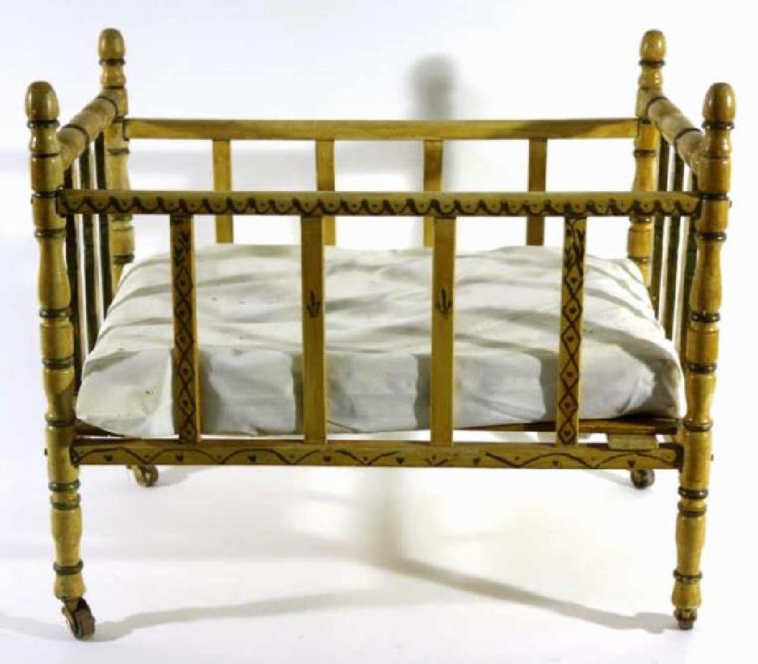 ENGLISH ANTIQUE FAUX BAMBOO DOLL CRIB - 5