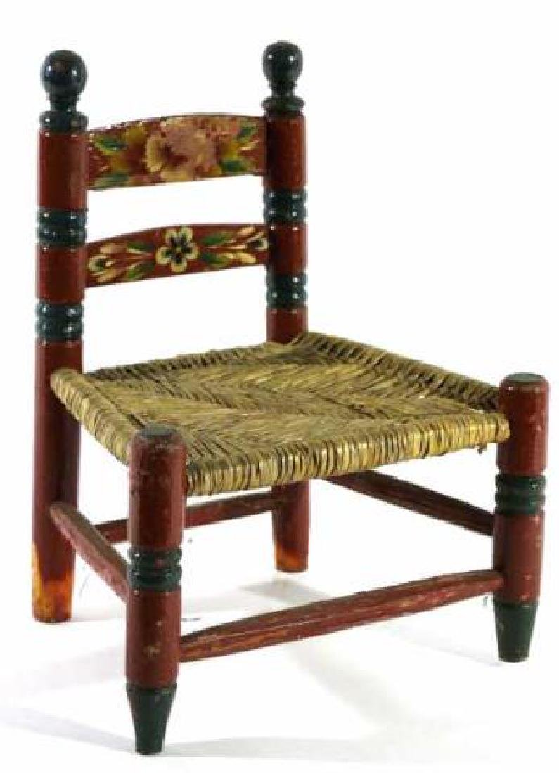 AMERCIAN ANTIQUE PAINT DECORATED RUSH SEAT CHILDS - 2