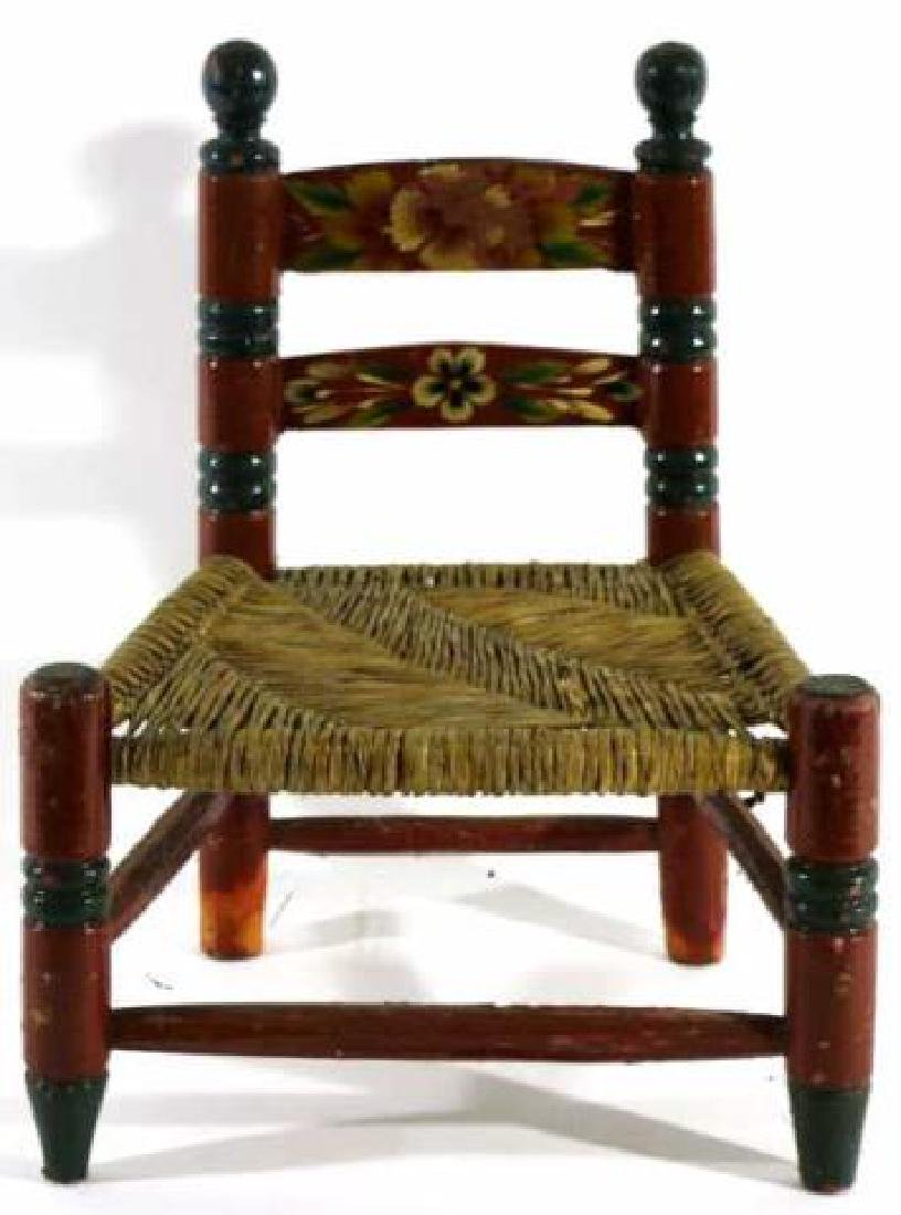 AMERCIAN ANTIQUE PAINT DECORATED RUSH SEAT CHILDS - 3