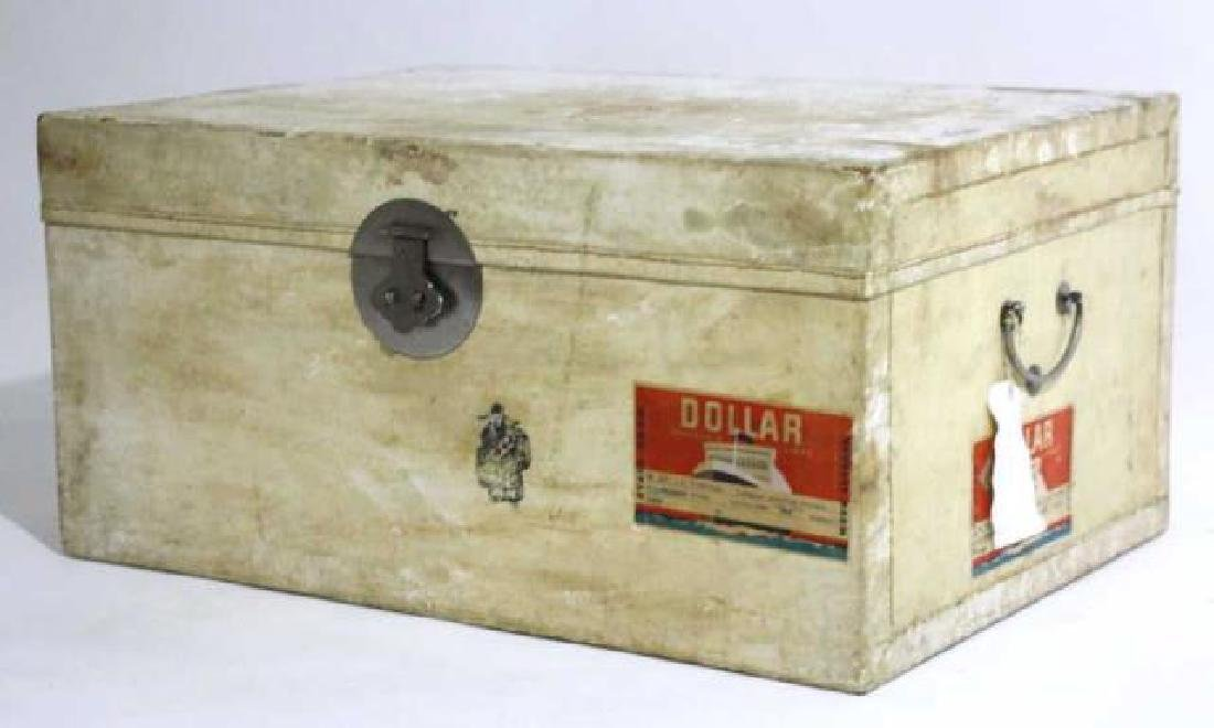 ASIAN ANTIQUE STORAGE LABELED STEAMER TRUNK