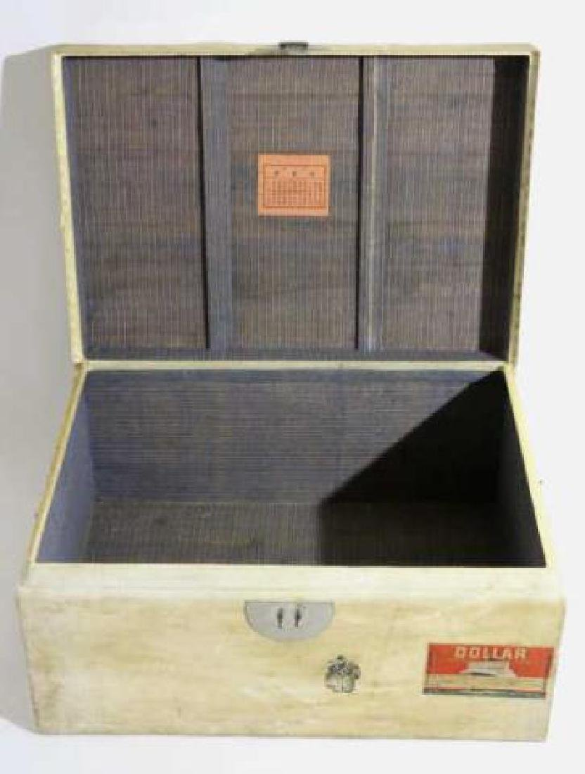 ASIAN ANTIQUE STORAGE LABELED STEAMER TRUNK - 2