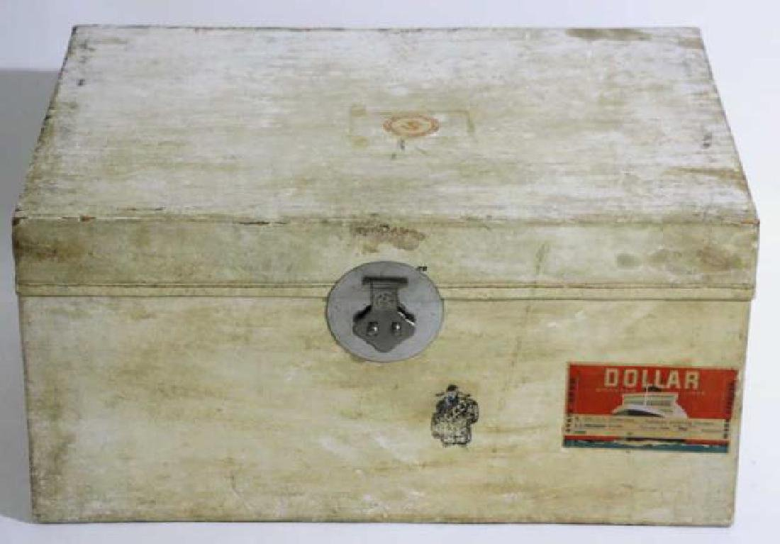 ASIAN ANTIQUE STORAGE LABELED STEAMER TRUNK - 4