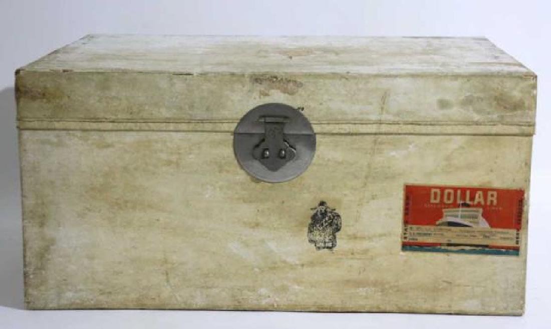 ASIAN ANTIQUE STORAGE LABELED STEAMER TRUNK - 5