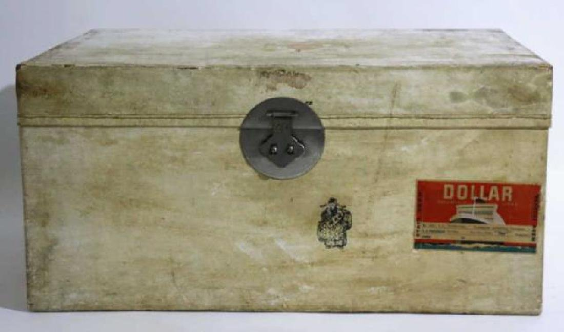 ASIAN ANTIQUE STORAGE LABELED STEAMER TRUNK - 8