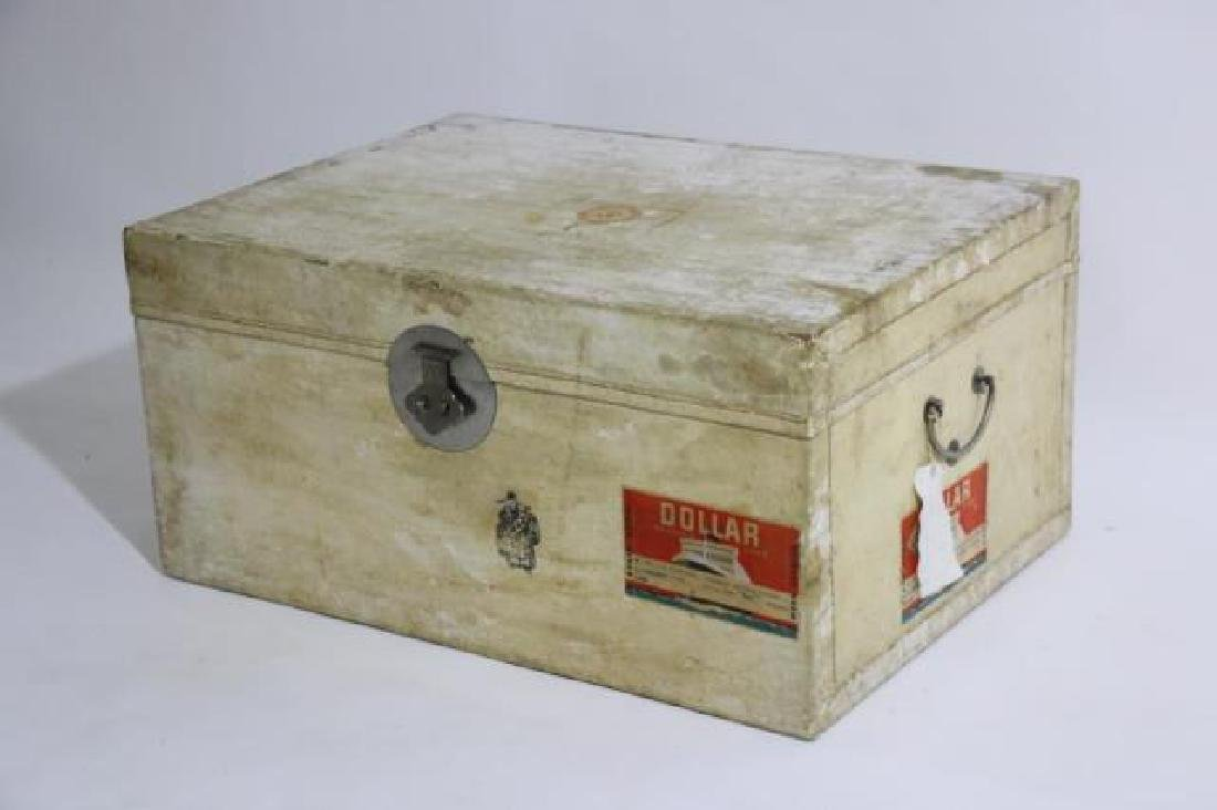 ASIAN ANTIQUE STORAGE LABELED STEAMER TRUNK - 9