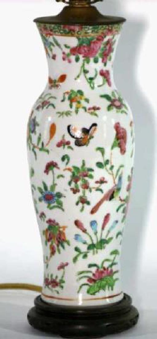 CHINESE ROSE MANDARINE PORCELAIN BALUSTER LAMP - 2