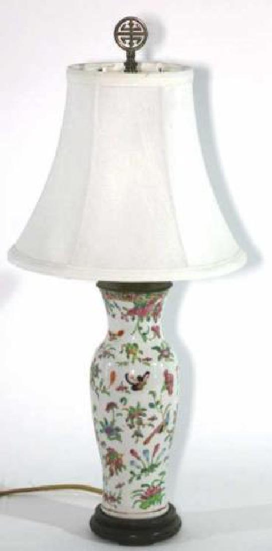 CHINESE ROSE MANDARINE PORCELAIN BALUSTER LAMP - 3