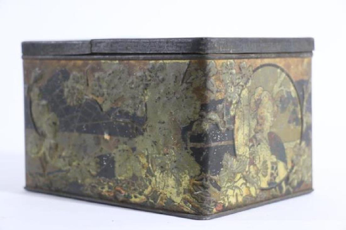 JAPANESE ANTIQUE TOLE TEA  STORAGE BOX - 4