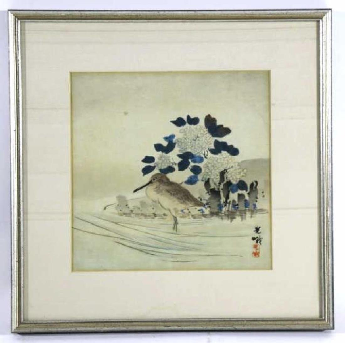 ASIAN  FRAMED BIRDS  WOODBLOCK ON SILK
