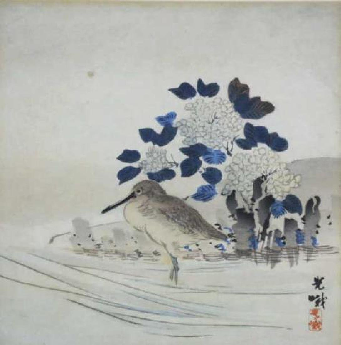 ASIAN  FRAMED BIRDS  WOODBLOCK ON SILK - 2