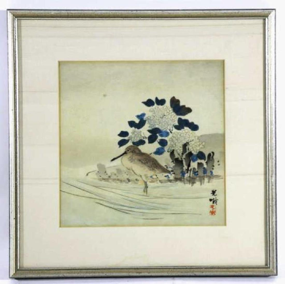 ASIAN  FRAMED BIRDS  WOODBLOCK ON SILK - 5