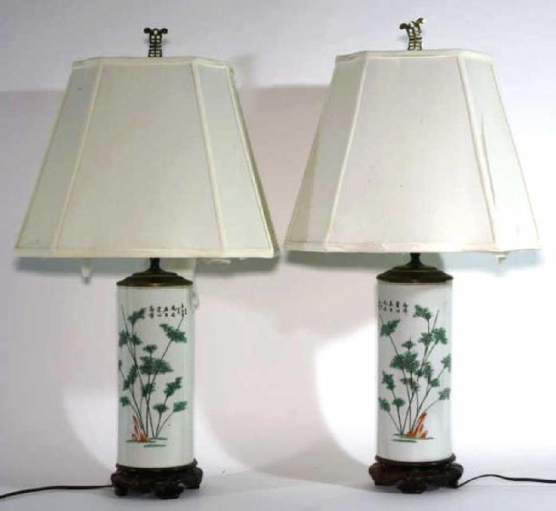 CHINESE ANTIQUE WIG STAND LAMPS