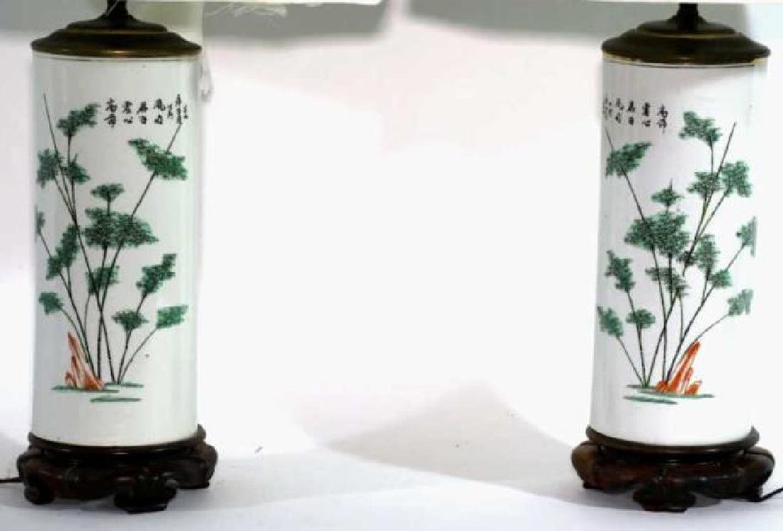 CHINESE ANTIQUE WIG STAND LAMPS - 2