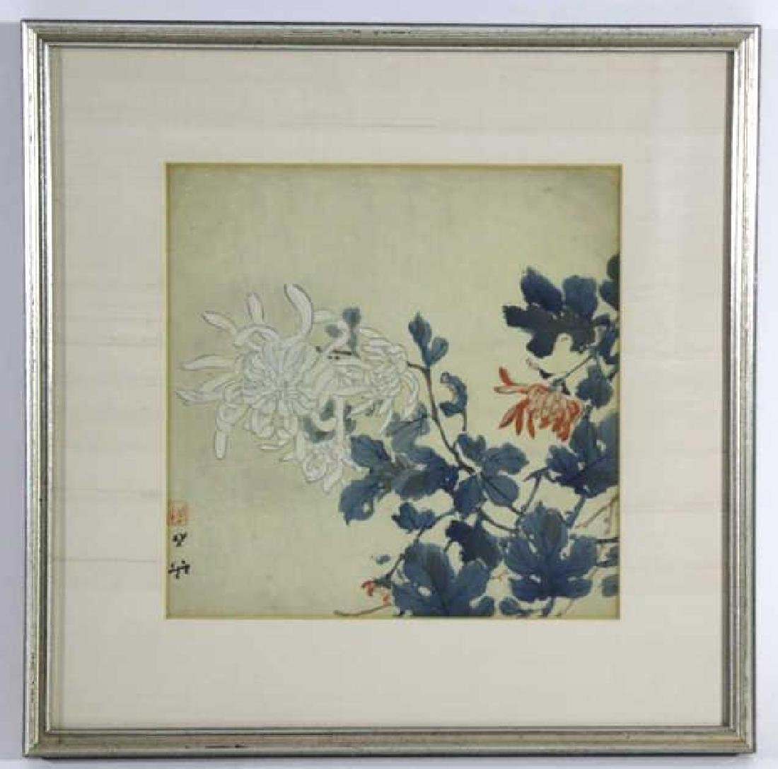 JAPANESE FRAMED ANTIQUE  BOTANICAL W/C ON SILK