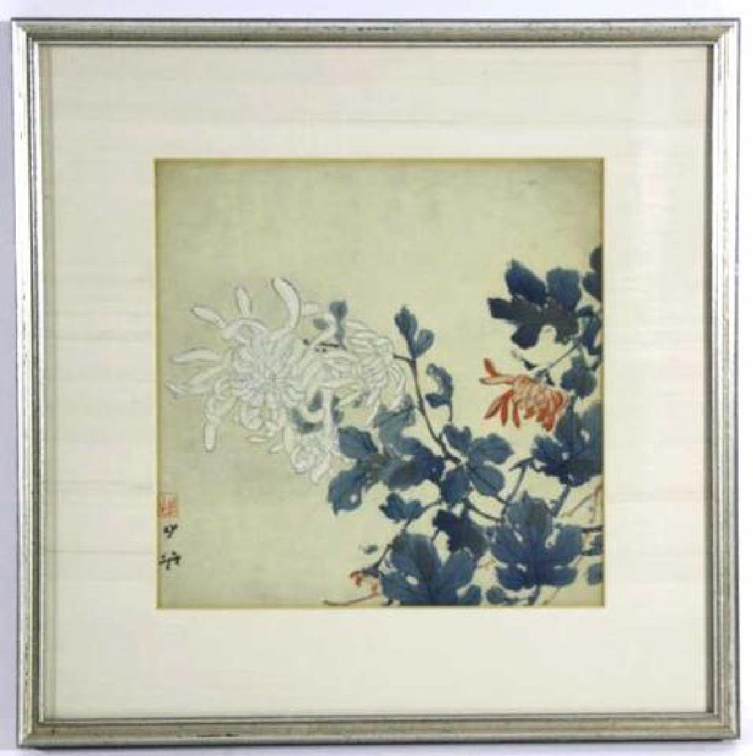 JAPANESE FRAMED ANTIQUE  BOTANICAL W/C ON SILK - 2