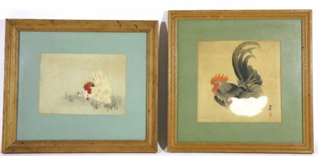 ANTIQUE ASIAN WOODBLOCK ON SILK PAIR ROOSTER & HEN
