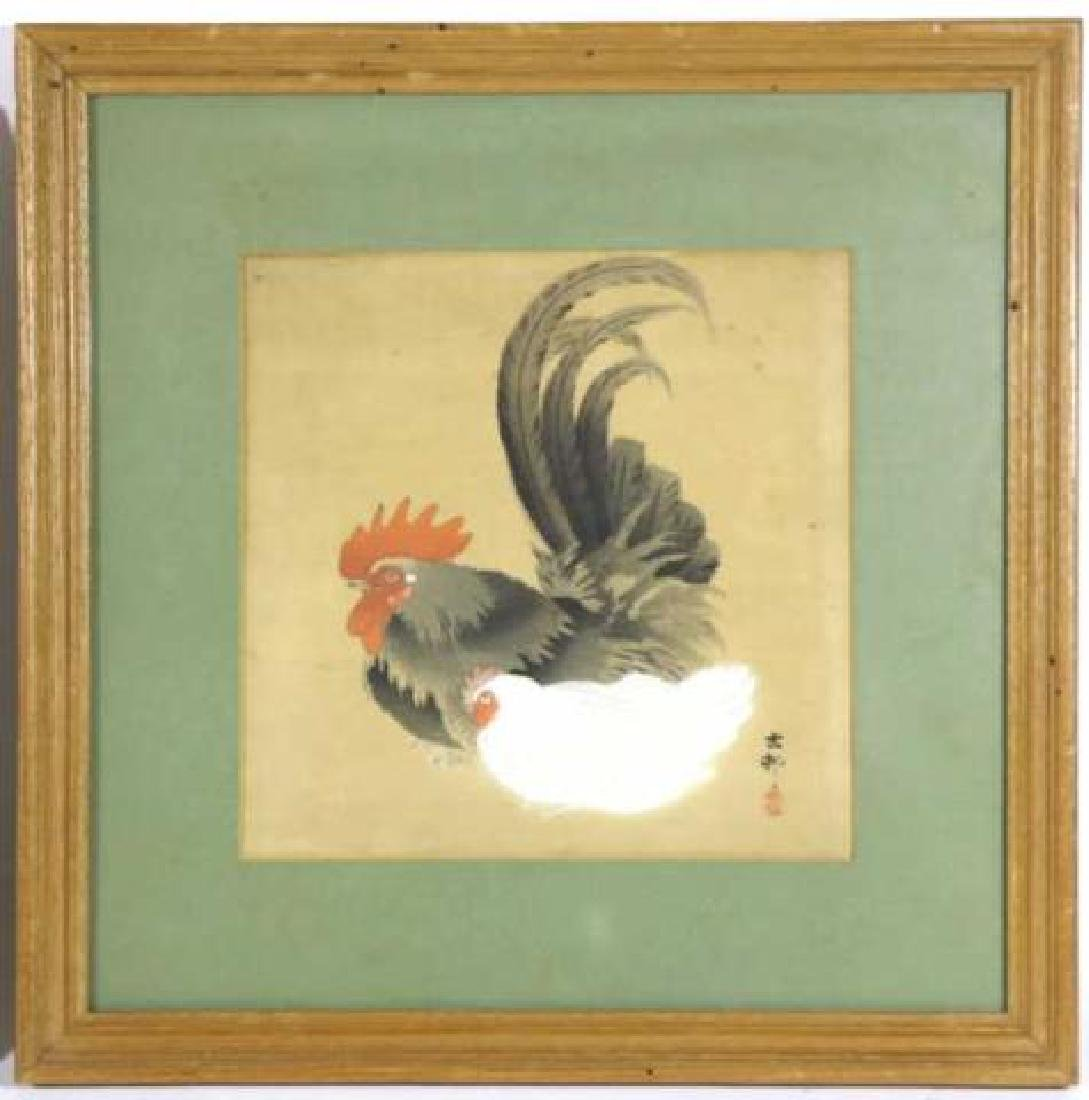 ANTIQUE ASIAN WOODBLOCK ON SILK PAIR ROOSTER & HEN - 4