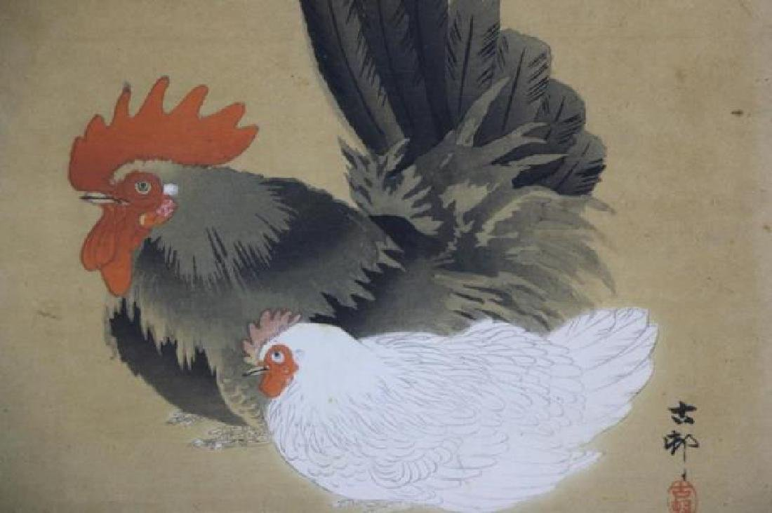 ANTIQUE ASIAN WOODBLOCK ON SILK PAIR ROOSTER & HEN - 7