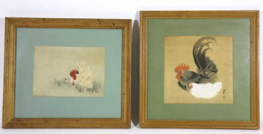 ANTIQUE ASIAN WOODBLOCK ON SILK PAIR ROOSTER & HEN - 8