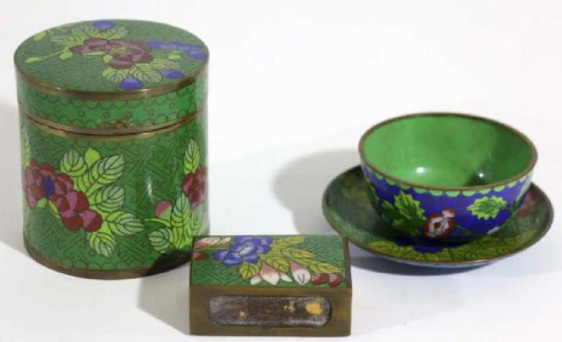 CHINESE CLOISONNE GROUPING