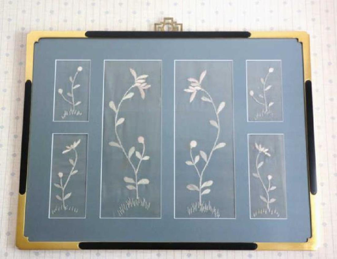 JAPANESE FRAMED SILK TEXTILE FRAGMENT NEEDLEWORK