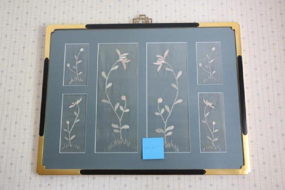 JAPANESE FRAMED SILK TEXTILE FRAGMENT NEEDLEWORK - 4