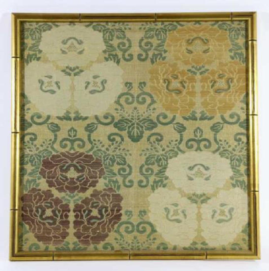 ASIAN FRAMED SILK TEXTILE IN FAUX BAMBOO FRAME