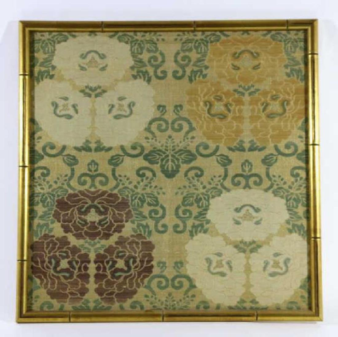 ASIAN FRAMED SILK TEXTILE IN FAUX BAMBOO FRAME - 2