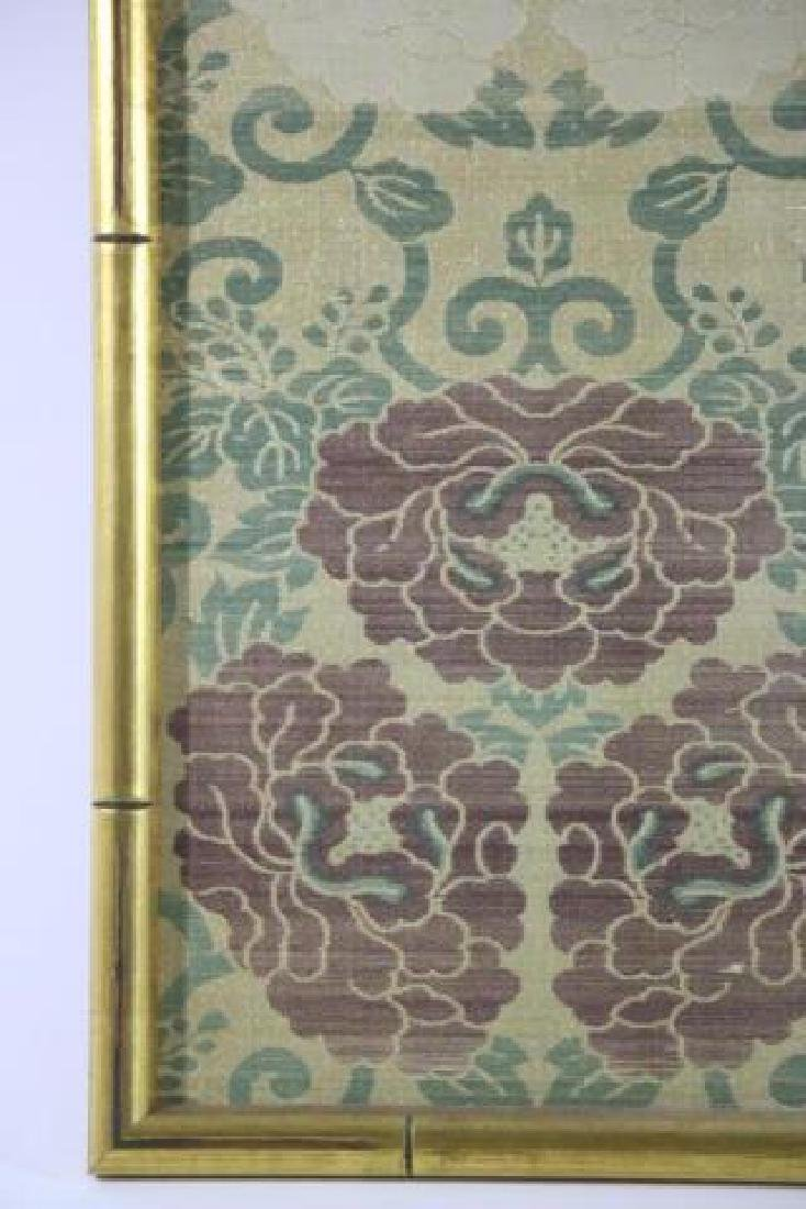 ASIAN FRAMED SILK TEXTILE IN FAUX BAMBOO FRAME - 4