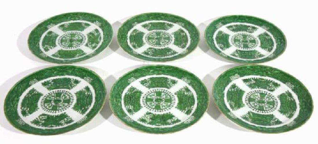 CHINESE ANTIQUE FAMILLE VERTE GREEN CABINET PLATES - 3